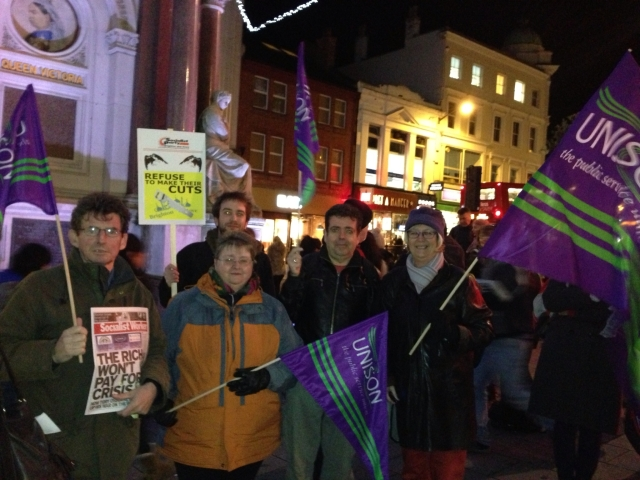 Branch members at the Autumn Statement protest at Brighton's Clock Tower on 5th December