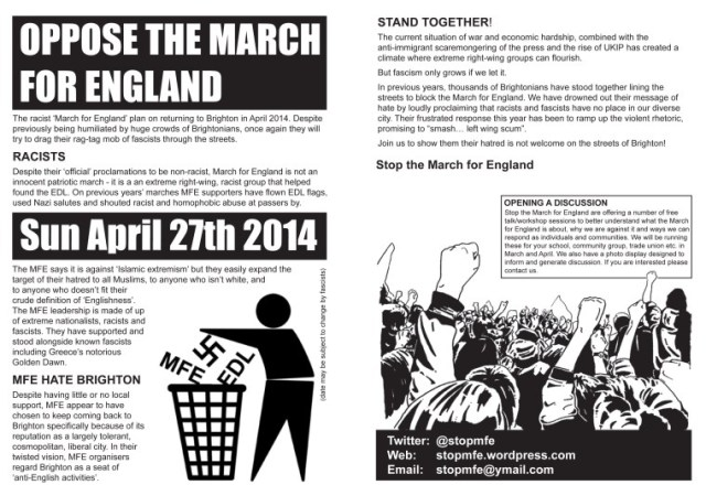 Oppose the March for England on 27th April